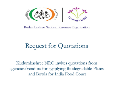 Kudumbashree NRO invites quotations for supplying biodegradable plates/bowls for India Food Court